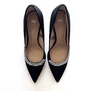 H&M Crystal Embellished Black Heels